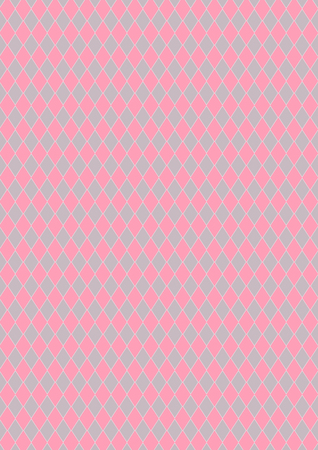 Harlequin of diamond shaped, pink and gray color pattern, background.