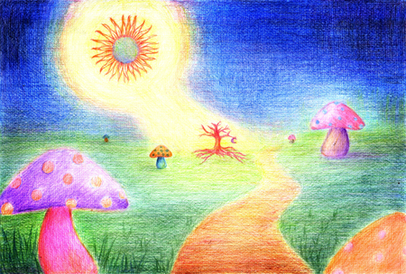 Illustration of color pencil sketch painting. The image of Fairy village, The mushrooms is home of fairy shining in the dark when midnight sun shining up to dead tree of village.