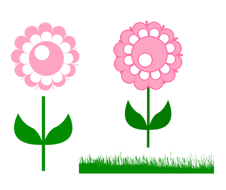 Illustration of cute pink circle flower, Flower set of pink flower, green leaves standing and green grass isolated on white background.
