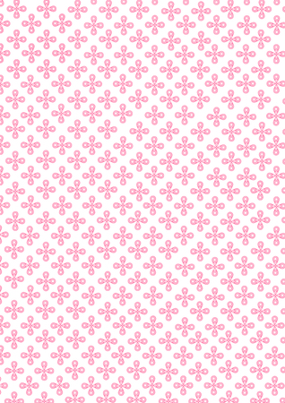 Illustration of sweet pink circle star flowers pattern isolated on white background.