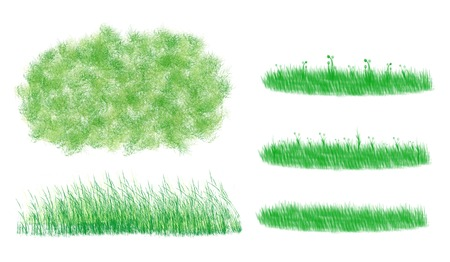 Illustration of cute grass set, The various style of green grass, green leaves small weed flower isolated on white background.