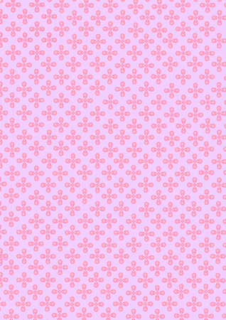 Illustration of cute circle pink small flowers pattern on violet background.
