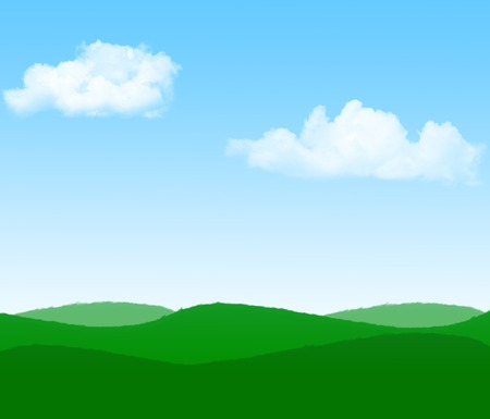 clearly: Illustration of green meadow and beautiful blue sky with white fluffy clouds in a bright summer day landscape.