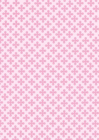 Illustration of cute circle pink small flowers pattern on soft pink background.