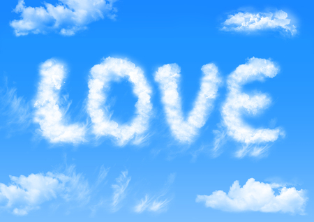 Illustration of beautiful blue sky with fluffy white clouds wrote the word LOVE in the sky in a bright day. Stock Photo