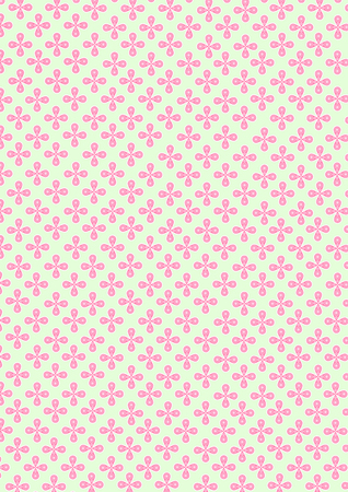Illustration of four water drop shape of petal and small circle pattern on petal combine to the flower and continuous repeat to many pink small flowers sameless on green pastel background.