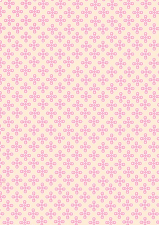 Illustration of four water drop shape of petal and small circle pattern on petal combine to the flower and continuous repeat to many pink small flowers seamless on orange pastel background. Stock Photo