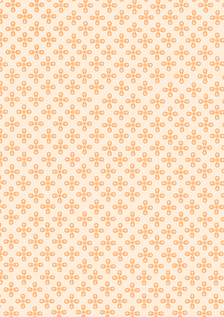 Illustration of four water drop shape of petal and small circle pattern on petal combine to the flower and continuous repeat to many classic small flowers seamless on orange pastel background. Stock Photo