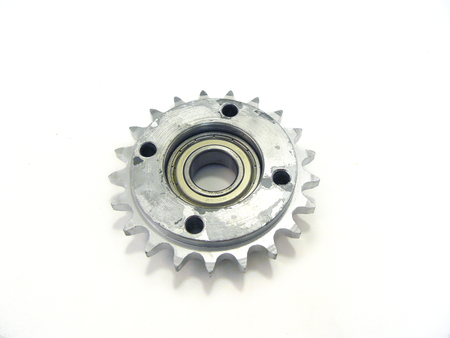 Cogwheel, Real stainless steel, metallic gears close up isolated on white background.
