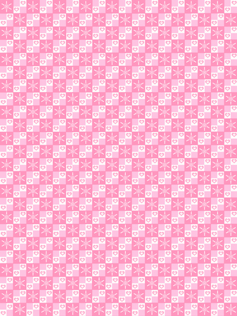 checker: Abstract pattern design of Snowflake and couple Hearth checkered pattern. Small cute hearts of love and snowflake on pink and white checkered.