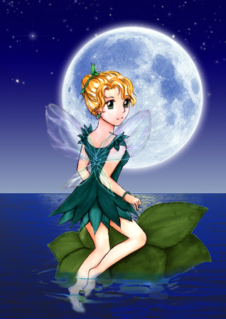 Illustration of fairy under the moonlight painting. The image of fairy sitting on green leaf at the dark sea of full moon night.