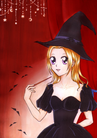 Painting of beautiful witch. The witches holding magic wand in her hand preparing spell to something in small room at the Halloween night. Cartoon drawing for decorated card, poster, book, etc.