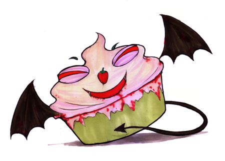 Ghost dessert color drawing. Cup cake devil of the Halloween night. Trick or treat cartoon drawing isolated on white background for decorated card, poster, book, etc. Stock Photo