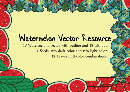 Red Watermelon with leaves vector