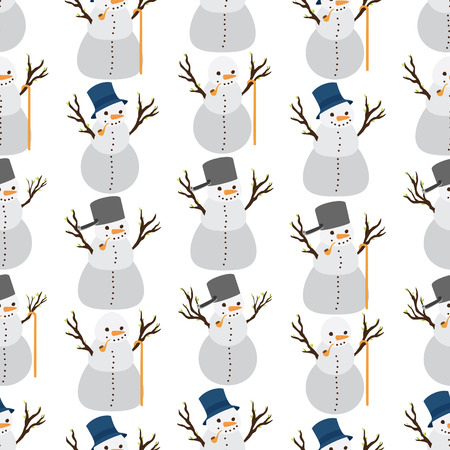 Snowman wearing various attribute in a seamless pattern