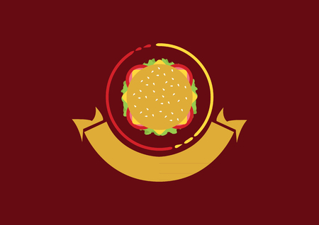 Vector Burger Icon - Logo with Banner Çizim