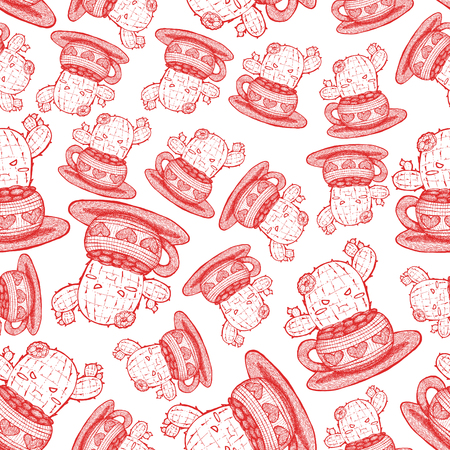 Line art drawing of a cute pouting prickly pear in a seamless pattern