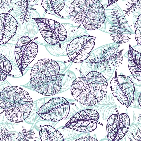 Beautiful and Elegant Leaf Line Art Seamless Surface Pattern
