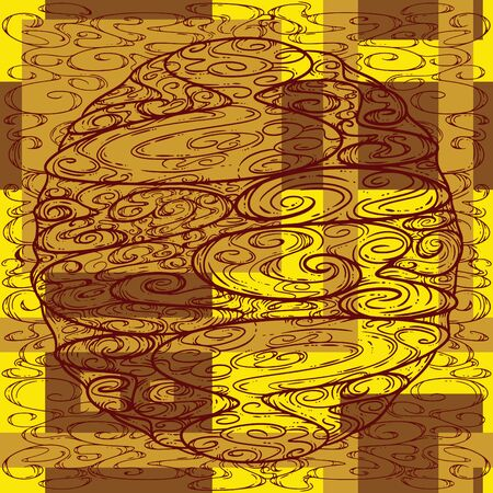Abstract Swirly Circle and Square Illustration in a Seamless Pattern