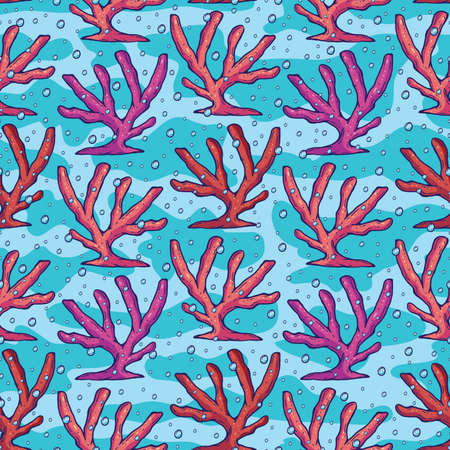 A beautiful colorful coral seamless pattern. An elegant digital design featuring a scenery found in the sea/ocean that is coral. A cute and adorable graphic design featuring corals and other sea eleme