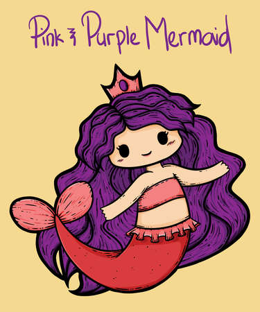 An illustration of a pink and purple mermaid in various swimming poses. A design featuring a mermaid with a tiara and pink pearl necklace. Chibi, kawaii mermaid.