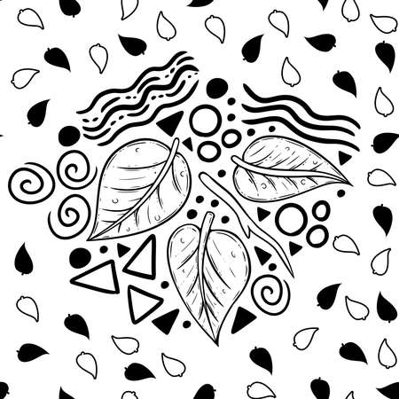 A fun little doodle-turned-into-pattern design, which uses line art leaf and several shapes and form typically found in doodles. A cute and whimsical surface pattern design. A simple graphic design us