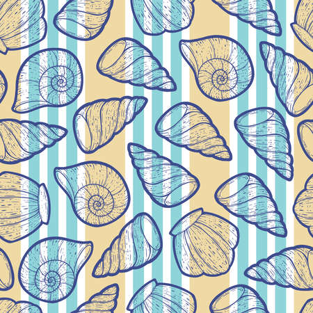 Vector seashells seamless surface pattern design in line art style and solid flat colors. Beautiful shell patterns perfect for summer and any beach theme occasions. Ilustração