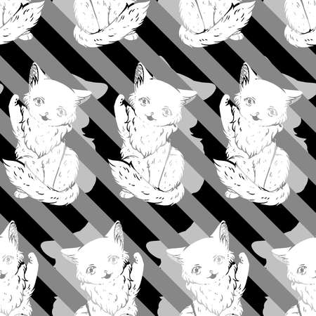 A cute illustration as a seamless pattern featuring a fluffy cat with one of it's paw raised. Would you want to face a final boss such as this?