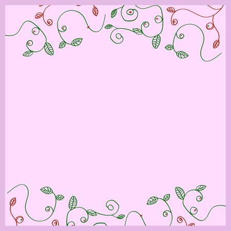 pink pattern with vegetation elements similar to branches of berry bushes