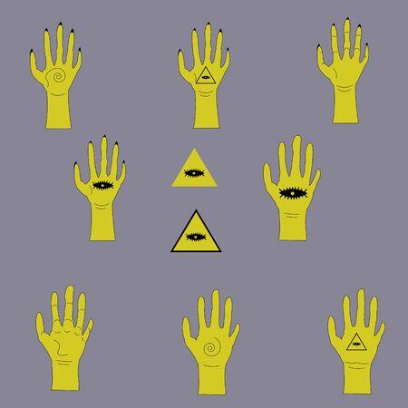 golden hand set with masonic pyramid and eye  イラスト・ベクター素材