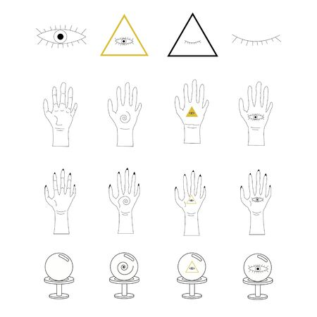contour occult objects such as crystal ball, eyes, pyramids, hands