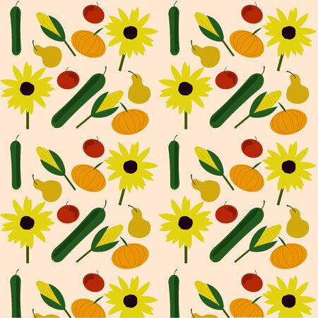 pattern of ripe vegetables, green cucumber, tomato, sunflower, pears, pumpkin and corn on a light background