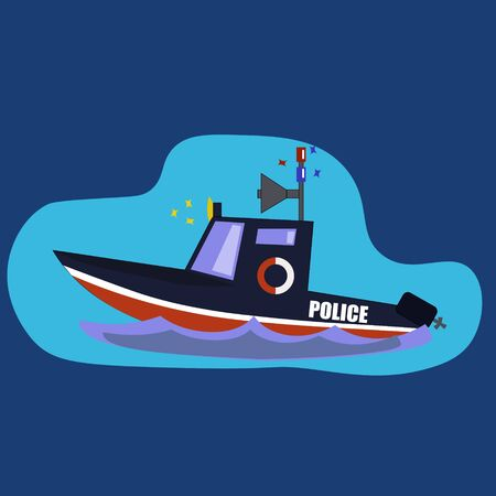 flashing police boat on the wave Illustration