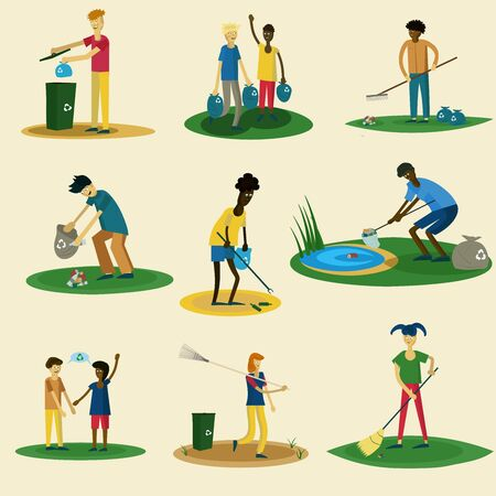 collection of men and women of different races are cleaned in the park Vektoros illusztráció