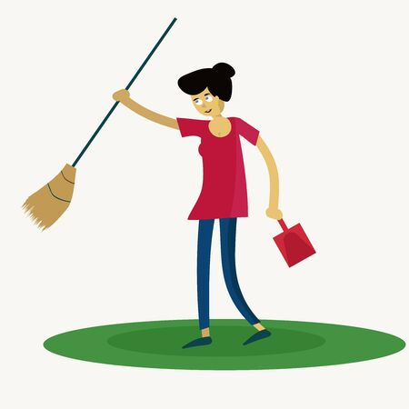 girl with a broom and dustpan Illusztráció