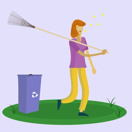 red-haired girl threw garbage into a container and went with a rake on her shoulders