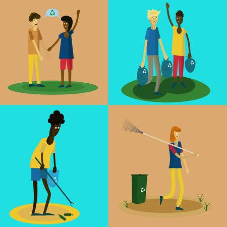 people with different skin colors are cleaned in the park