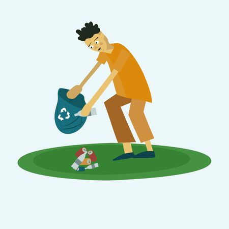 guy collects trash from the lawn into a trash bag