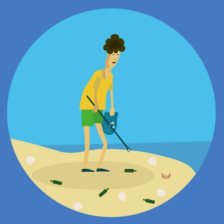 guy cleans the beach from trash