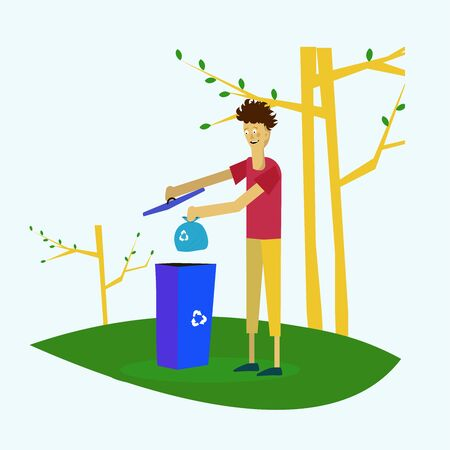 the guy takes out the trash in the trash in the park after cleaning