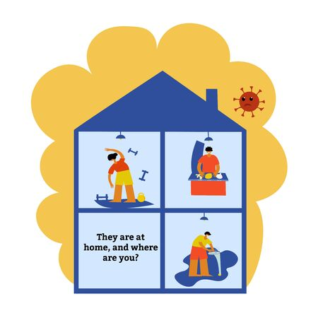 Self-quarantine concept. Work at home during an outbreak of the COVID-19 virus. Coronavirus quarantine preventive measures. Prevent infection spreading. People support immunity in every way . Vector illustration