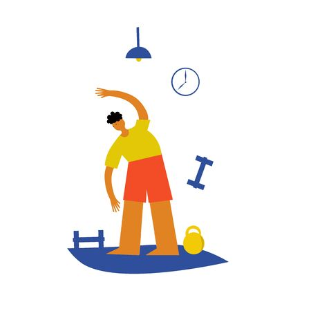 a person does exercises to maintain immunity during a pandemic at home. Vector illustration.