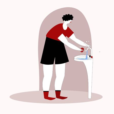 Man washing hands in the sink.Vector illustration in doodle style hand drawn sketch. 向量圖像