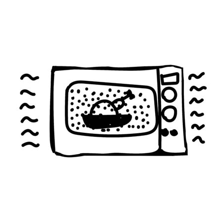 Doodle style microwave. The picture is hand drawn.Heating food in the kitchen. Vector illustration sketch.