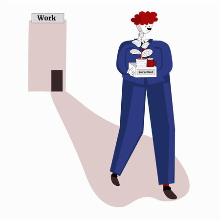 Boss fired employee dismissal of work, unemployment, jobless, crisis concept. Sad worker loses a job and stands with office box.