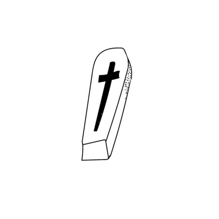 Coffin in cross style isolated on white background. Vector outline illustration. Death from a coronavirus. Funeral.