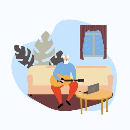 old man plays the guitar on the sofa in the living room. Distance learning music lessons. Studying at home. Spend time at home. Vector illustration in cartoon flat style Illustration