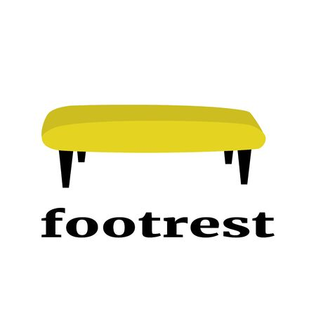 Yellow footrest furniture cartoon with blue halftone. Vector illustration in cartoon style