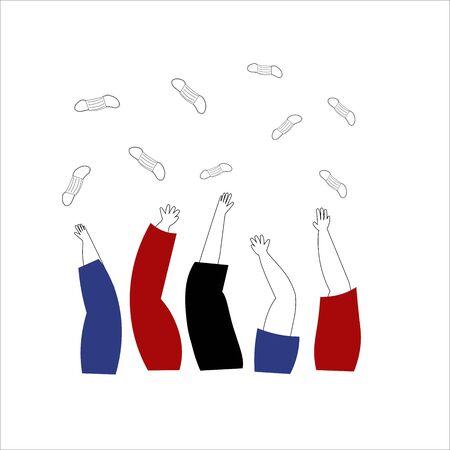 Coronavirus win concept. Hands throwing up medical masks. Hand drawn vector illustration. End of quarantine