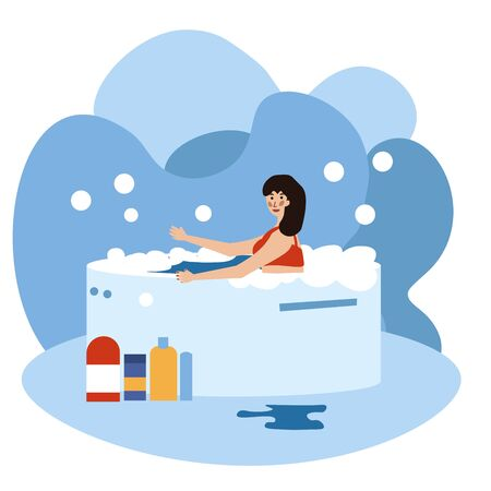 Beautiful woman relaxing in a hot tub , spa accessories. a lot of foam. Soap bubbles fly. Vector illustration in flat cartoon style.
